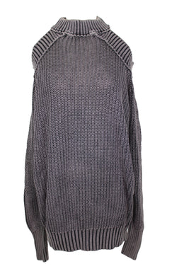 Free People Sweater HALF MOON BAY Pullover sz M in Washed Black Cutout NWT $98