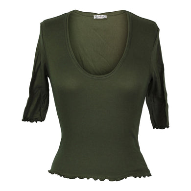 Free People Up All Night Top sz XS in Army Green NWOT $38