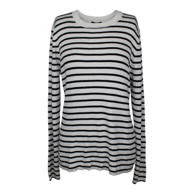 Halogen Ribbed Sweater sz XL in Ivory Black Stripe NWT $69