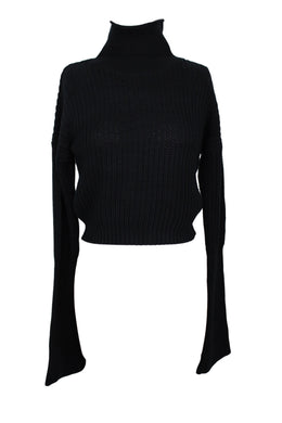 American Apparel Womens Fisherman Bell Sleeve Sweater sz S Black NEW $58