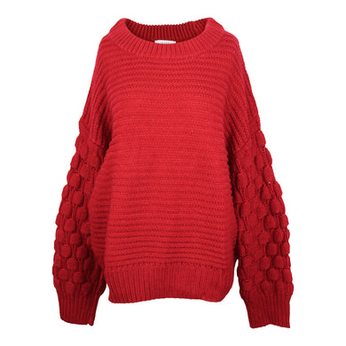 Elodie Bubble Sleeve Pullover Sweater sz XL in Rust Red NWT $40
