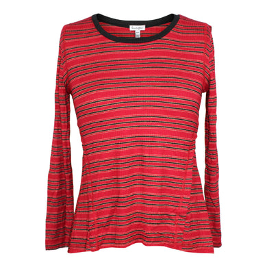 Love, Fire Girl's High/low Seamed Top sz M in Red Black Stripe NWT $34