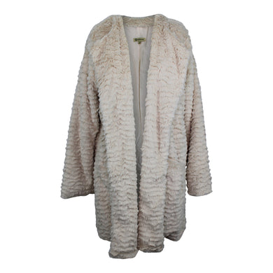 Democracy Oversized Faux Fur Jacket sz L in Taupe Teddy Coat NWT $98