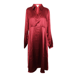 Spense Satin Long Sleeve Spread Collar Dress sz 10 in Holiday Wine Red NWT $33