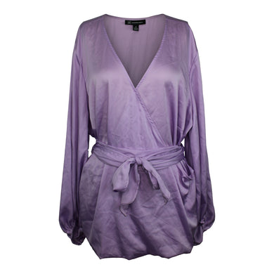 INC Womens Belted Blouson-Sleeve Wrap Blouse sz 1X in Lilac Moon NWT $80 *flaw