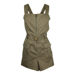 Bardot Belted Cargo Romper sz 10 / L Army Green NWT $109 Buckle Shorts Playsuit