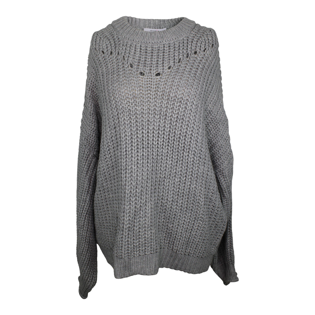 Elodie Open Stitch Pullover Sweater sz XL in Gray NWT 30