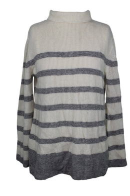 Griffen Cashmere Stripe Bell Sleeve Sweater sz S Ivory & Gray NWT $120