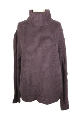 Sanctuary Shaker Turtleneck Sweater sz L in Eggplant NWT $79