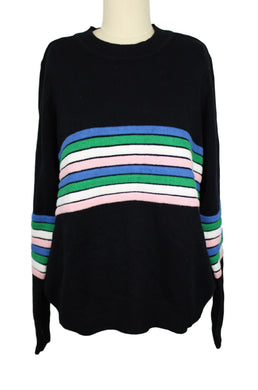Maison Jules Novelty-Striped Sweater sz L in Black NWT $70 *dirt