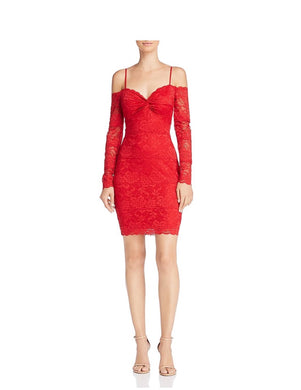 GUESS Womens Gabbie Dress sz XL Red Off The Shoulder Scarlett Lace NWT $98