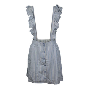 JACK by BB Dakota Ruffle Time Pinafore Blue White Stripe Skirt Suspender NWT $68