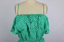 Load image into Gallery viewer, BB Dakota Dot Off The Press Dress sz L in Kelly Green White Polka Dot NWT $88
