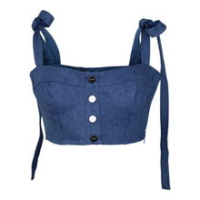 Load image into Gallery viewer, Capulet Hayley Crop Top sz XS in Blue Denim Bustier Tie Straps NWT $136