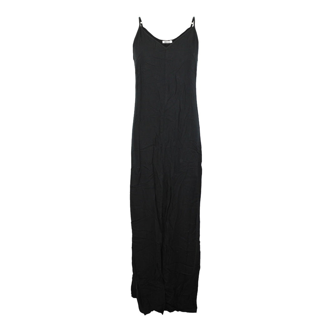 LA Made Kate Slip Dress in Black sz XS Maxi Front Slit NWT $119 Made in USA