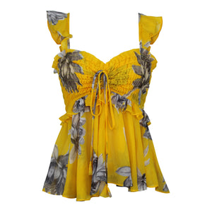 MISA Los Angeles Merlya Top sz S Yellow Floral Tank NWT $224 Made in USA