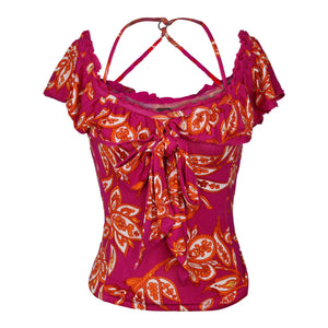 Free People CHA-CHA TOP sz S in Raspberry Sorbet Combo Pink NWT $68