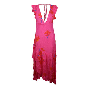 Free People Dress SHE'S A WATERFALL MAXI in Hibiscus Pink Combo NWT $128