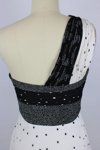 A.L.C. Aurora Dress sz 2 White & Black Pleated One Shoulder Polka Dot NWT $795