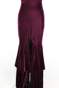 PatBO Velvet Plunge Gown sz2 Bordeaux Plum Halter Long Dress Front Slit NWT $895