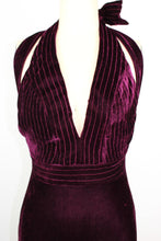 Load image into Gallery viewer, PatBO Velvet Plunge Gown sz2 Bordeaux Plum Halter Long Dress Front Slit NWT $895