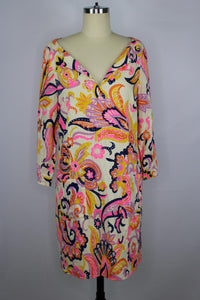 Julie Brown NYC Meghan Dress sz 2 Ivory Pink Multi Paisley Linen Blend NWT $195