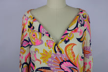 Load image into Gallery viewer, Julie Brown NYC Meghan Dress sz 2 Ivory Pink Multi Paisley Linen Blend NWT $195