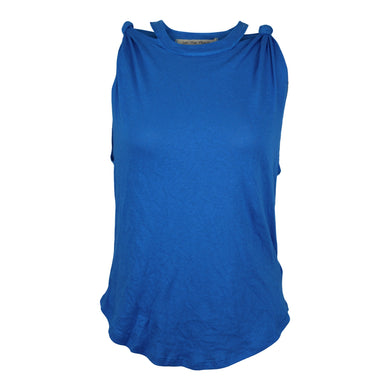 Free People Twist-Shoulder Tank Top Lapis Blue XS NWT $38