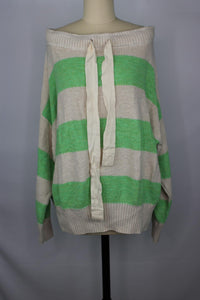 Free People CASSIDY PULLOVER Sweater sz M in Green White Stripe NWOT $148