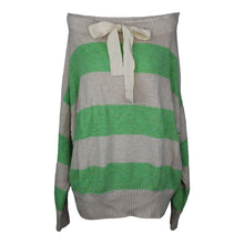 Load image into Gallery viewer, Free People CASSIDY PULLOVER Sweater sz M in Green White Stripe NWOT $148
