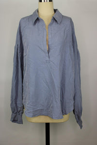 Free People Love Until Tomorrow Blouse sz M in Waterlily Blue NWT $98
