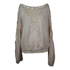 Free People FLOATING MEMORIES BLOUSE sz LARGE in Natural Combo NWT $148