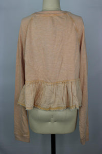 Free People Sweet Jane Pullover Sweatshirt sz M in Shell Pink NWT $78