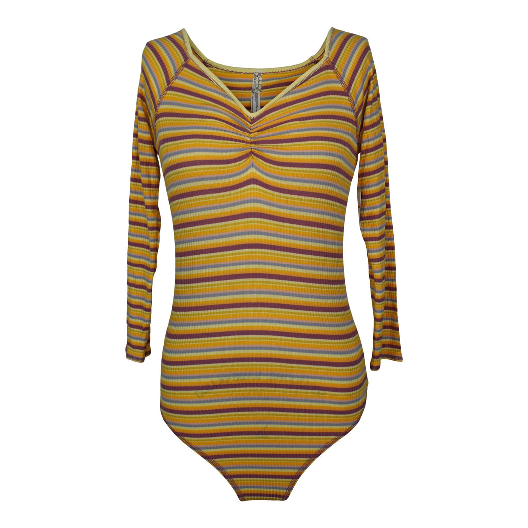 Free People PUT A STRIPE ON IT Bodysuit sz S in Sunset Combo NWT $48