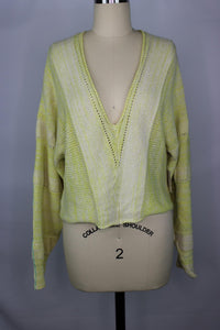 Free People LEMONADE STAND Crop Sweater sz XS in Yellow NWT $128
