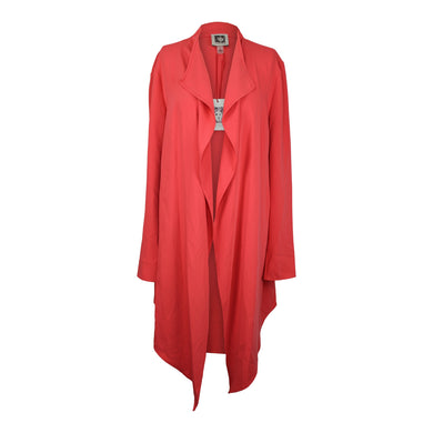 Anne Klein Womens Drape Front Long Jacket sz L in Cape Cod Coral NWT $119
