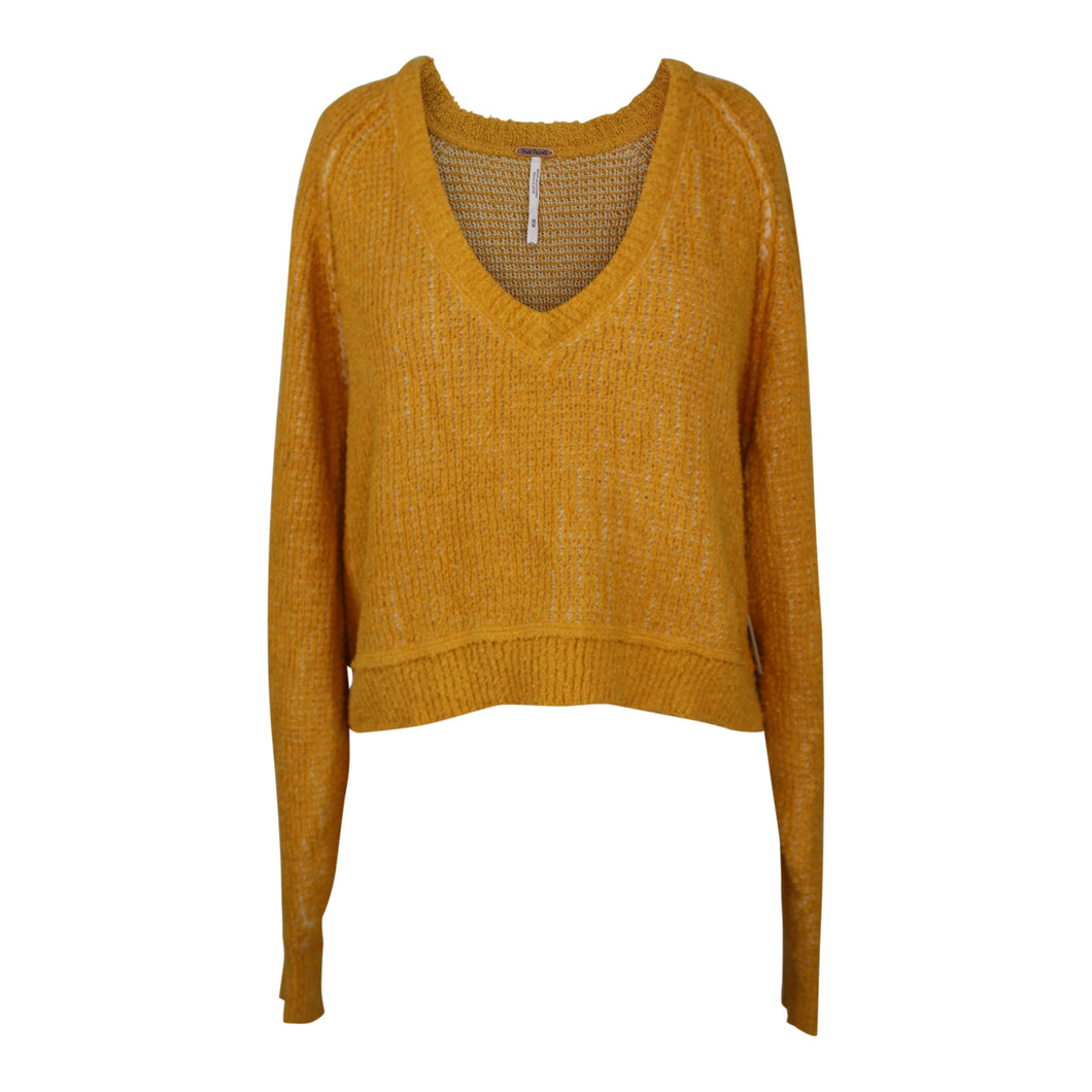 Free People High Low V Neck Sweater sz M in De Soliel Marigold Yellow NWT $98