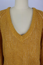 Load image into Gallery viewer, Free People High Low V Neck Sweater sz M in De Soliel Marigold Yellow NWT $98