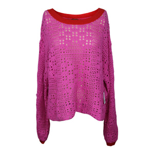 Free People Home Run Crop Sweater in Bright Pink NWT $78