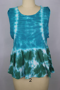 Free People Tie Dye Anytime Tank Top sz XS Teal Waters Combo Blue Green NWT $58