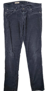 $198 AG Adriano Goldschmied Legging Super Skinny Gray Velvet Pants Autumn Fog 32