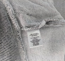 Load image into Gallery viewer, Ann Taylor Loft Lounge Gray White Stripe Sweashirt Front Zipper Pockets sz M