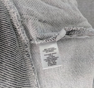 Ann Taylor Loft Lounge Gray White Stripe Sweashirt Front Zipper Pockets sz M