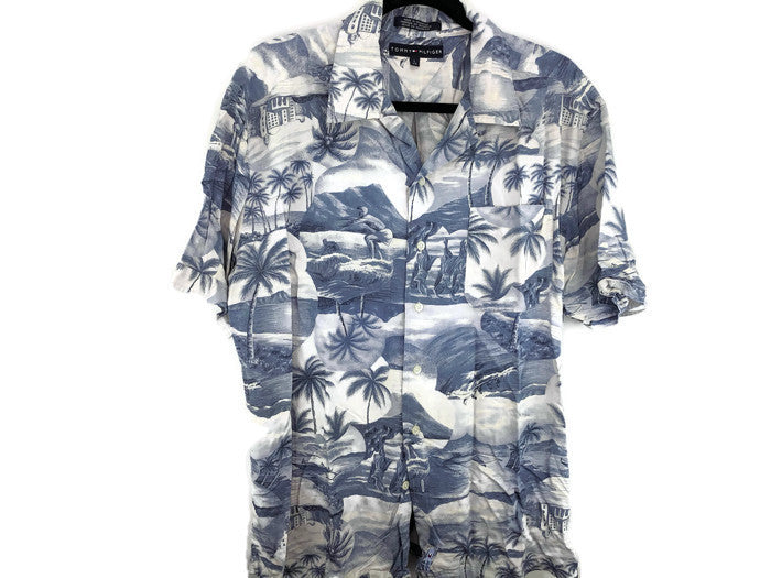 Tommy Hilfiger Blue Hawaiian Print Shirt sz L