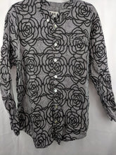 Load image into Gallery viewer, Flax Linen Blouse Rosettes Print sz L
