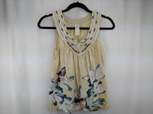 Load image into Gallery viewer, Anthropologie C Keer Beige Tank Top Beaded Neck Purple Blue Green Floral Bottom sz S