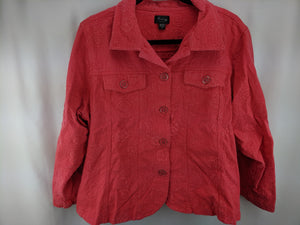 Analogy Woman Coral Jean Jacket Floral Embroidery sz 3X