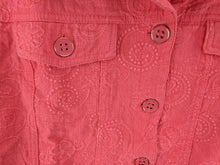 Load image into Gallery viewer, Analogy Woman Coral Jean Jacket Floral Embroidery sz 3X