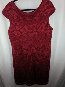 Dress Barn Collection Red Lace Sheath Dress sz 18