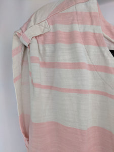 Ann Taylor Loft Pink Beige Stripe Shift Dress sz S